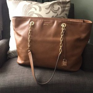 Michael Kors Cognac Pebbled Leather Tote